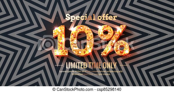 10 Percent Sale Background with golden glowing numbers - csp85298140