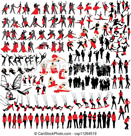 150 people at leisure silhouettes - csp11264519