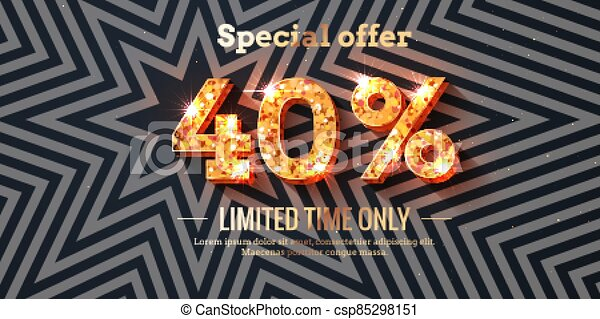 40 Percent Sale Background with golden glowing numbers - csp85298151