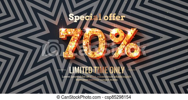 70 Percent Sale Background with golden glowing numbers - csp85298154