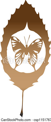 A leave with butterfly made in eps - csp11517672