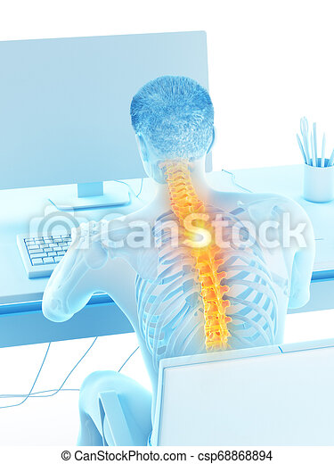 a man having a backache due to sitting - csp68868894