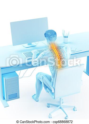 a man having a backache due to sitting - csp68868872