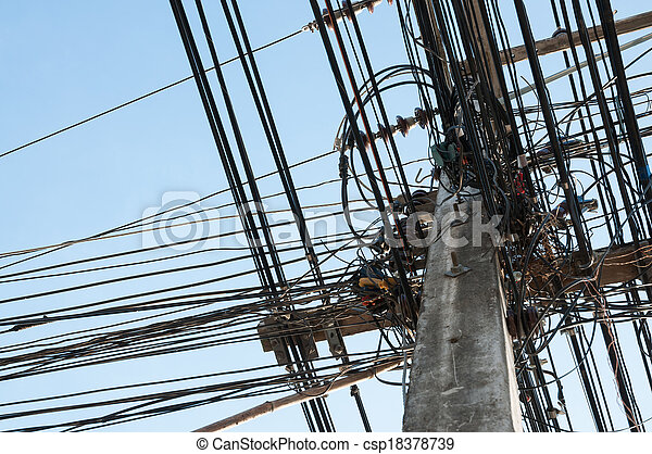 A tangle of cables and wires on ele - csp18378739