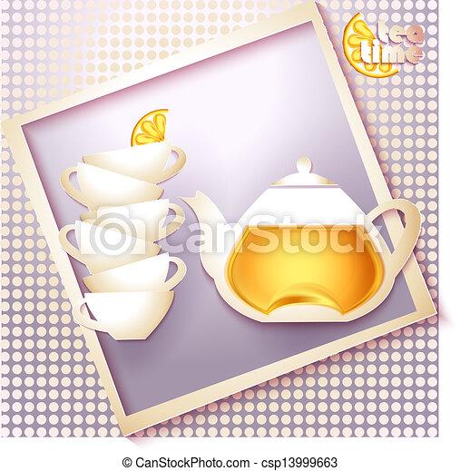 Abstract tea time card - csp13999663