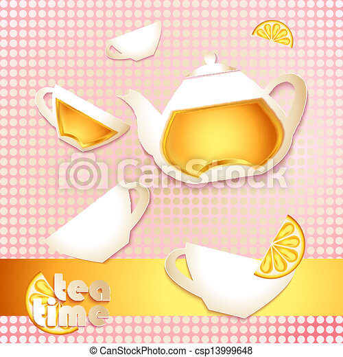 Abstract tea time card - csp13999648