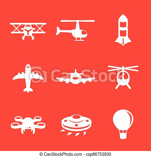 Aircrafts icons, airplane, aviation, air transport - csp86753930