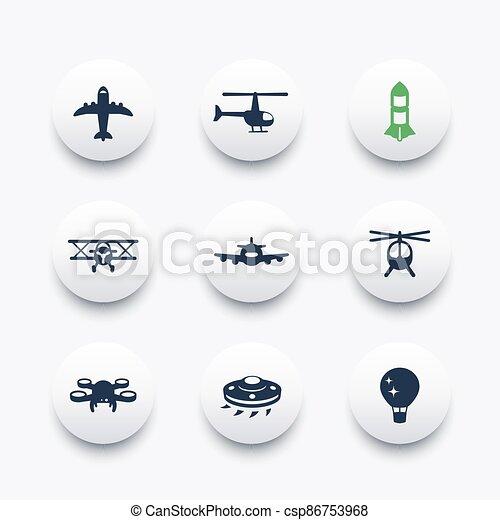 Aircrafts icons set, aviation, air transport - csp86753968