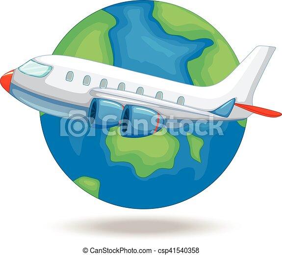 Airplane flying around the world - csp41540358