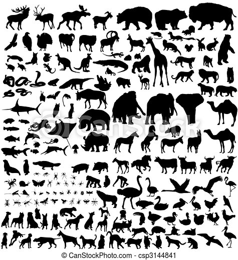 animal silhouettes collection - csp3144841