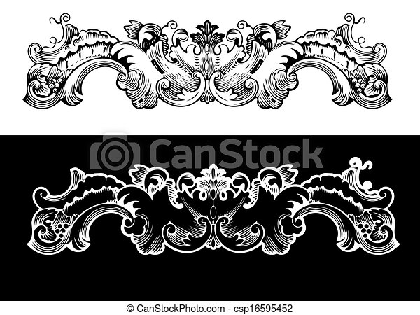 Antique Design Element Engraving, Scalable And Editable Vector Illustration - csp16595452