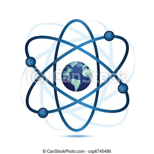 atom symbol with a globe - csp6745486