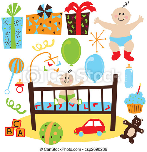 Baby Boy retro birthday party - csp2698286