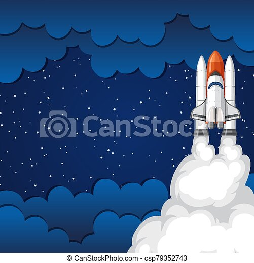 Background scene with rocket flying in the space - csp79352743