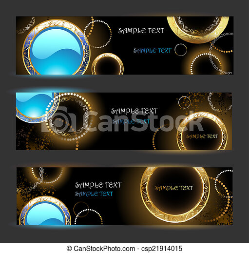 Banner with golden rings - csp21914015