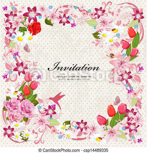 Beautiful floral design invitation card - csp14489335