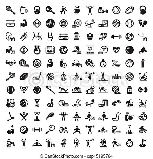 big fitness and diet icons set - csp15195764