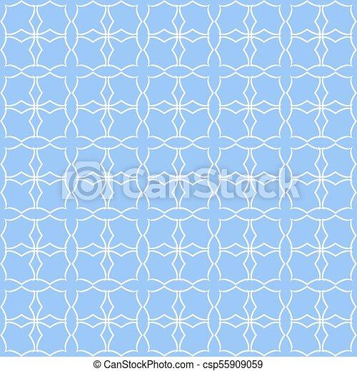 Blue quatrefoil lattice pattern. - csp55909059