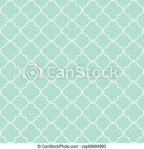 Blue quatrefoil outline ornamental pattern - csp69694993