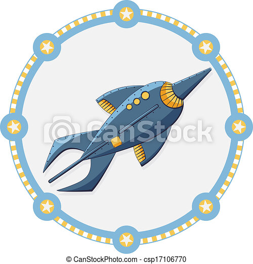 Blue space rocket with a round frame - vector - csp17106770