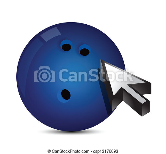 Bowling ball with cursor arrow - sport shopping - csp13176093