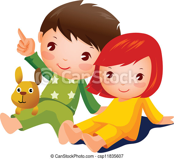 Boy and Girl sitting - csp11835607