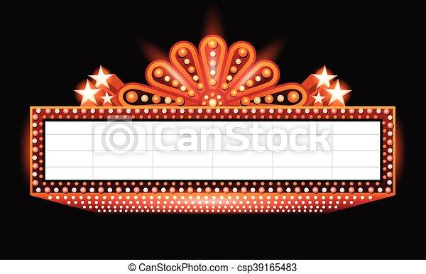 Brightly theater glowing orange retro cinema neon sign - csp39165483