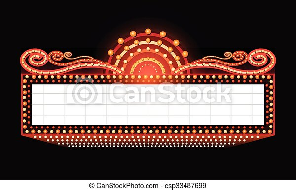 Brightly theater glowing retro cinema neon sign - csp33487699