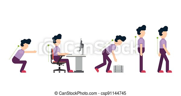 Business man showing the correct posture in different situations - csp91144745