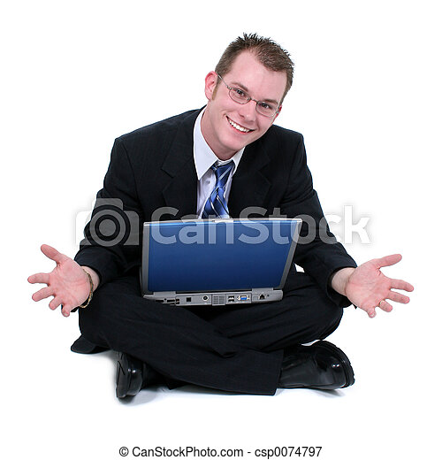 Business Man Sitting On Floor With Laptop Hands Out - csp0074797