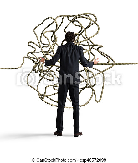 Businessman resolves the tangle - csp46572098