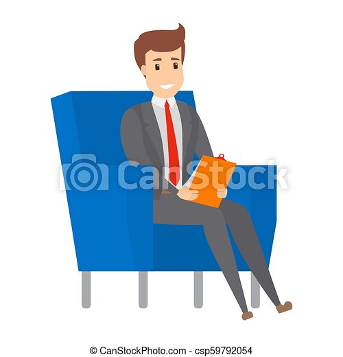 Businessman sitting on the armchair and working. - csp59792054