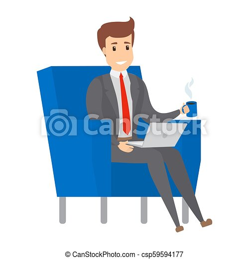 Businessman sitting on the armchair and working. - csp59594177