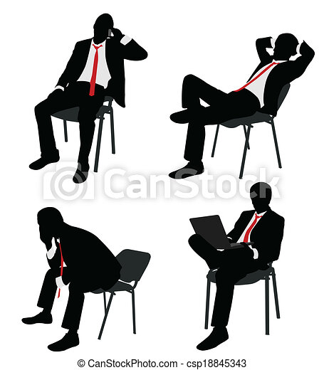 businessman sitting on the chair - csp18845343