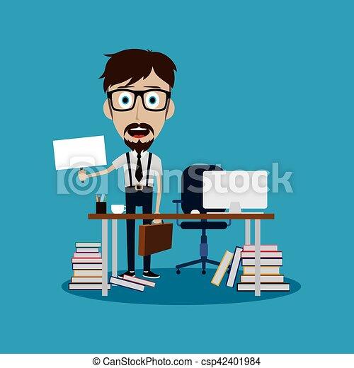 businessman working behind office desk holding blank sign - csp42401984