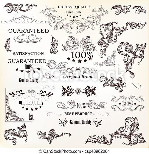 Calligraphic vector vintage design elements , decorations and swirls - csp48982064