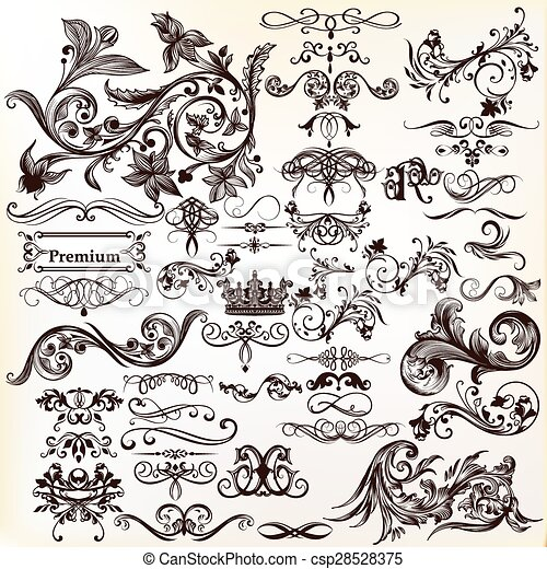 Calligraphic vector vintage design elements and page decorations - csp28528375