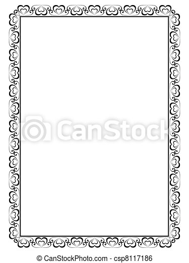 calligraphy ornamental decorative frame with heart - csp8117186
