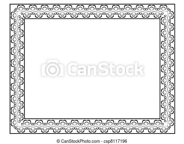 calligraphy ornamental decorative frame with heart - csp8117196