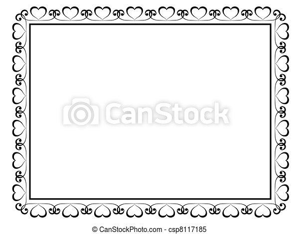calligraphy ornamental decorative frame with heart - csp8117185