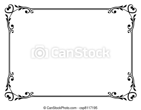 calligraphy ornamental decorative frame with heart - csp8117195