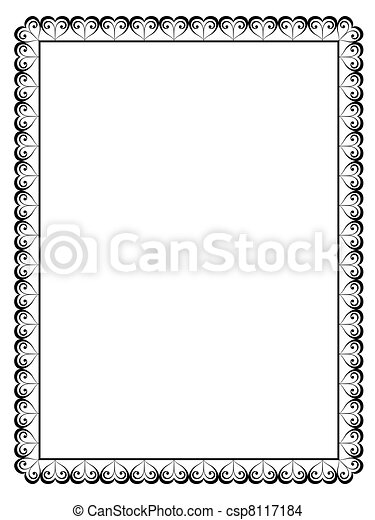 calligraphy ornamental decorative frame with heart - csp8117184