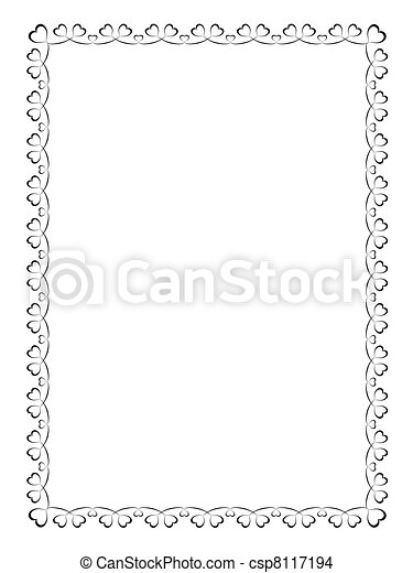 calligraphy ornamental decorative frame with heart - csp8117194