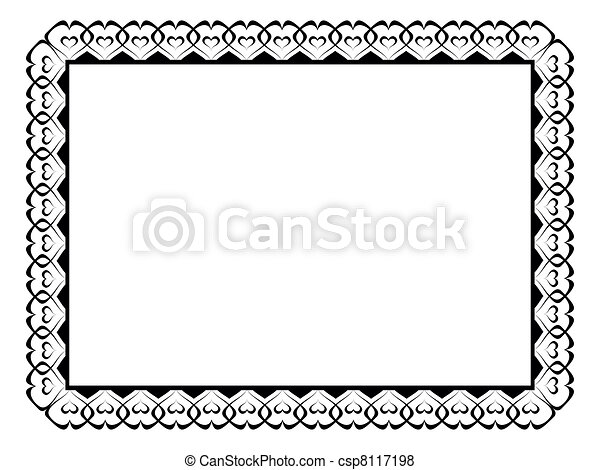 calligraphy ornamental decorative frame with heart - csp8117198