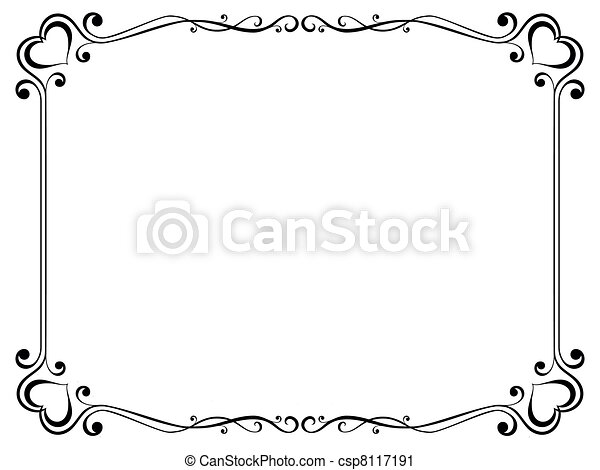 calligraphy ornamental decorative frame with heart - csp8117191