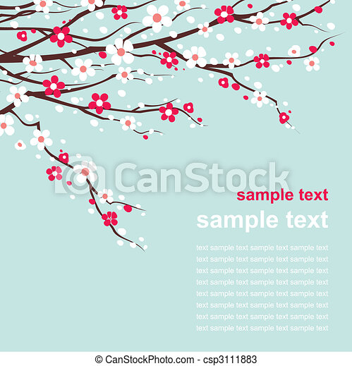 card with cherry twigs in bloom - csp3111883
