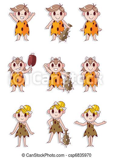 cartoon Caveman icon set, vector - csp6835970