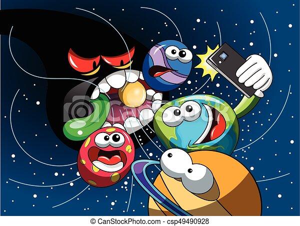 Cartoon monster black hole eating universe Earth selfie smartphone - csp49490928
