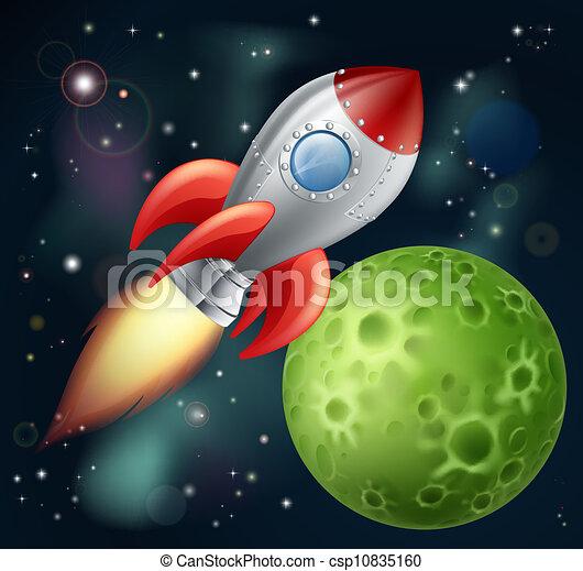 Cartoon rocket in space - csp10835160
