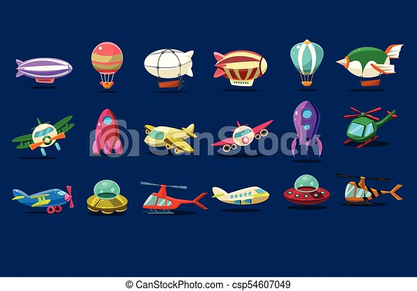 Cartoon set of different types of aircrafts. Alien saucers, airplanes, spaceship, balloons, helicopters and zeppelins. Flat vector design for mobile game interface - csp54607049
